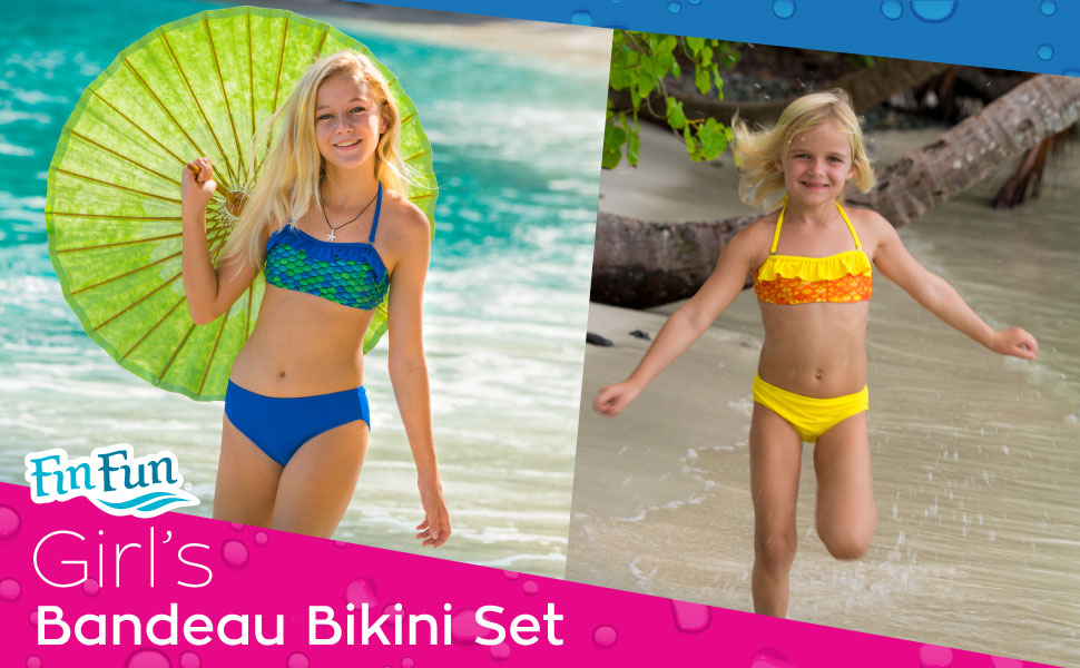 Amazon.com: Fin Fun Mermaid Girl's Scale Bandeau Bikini