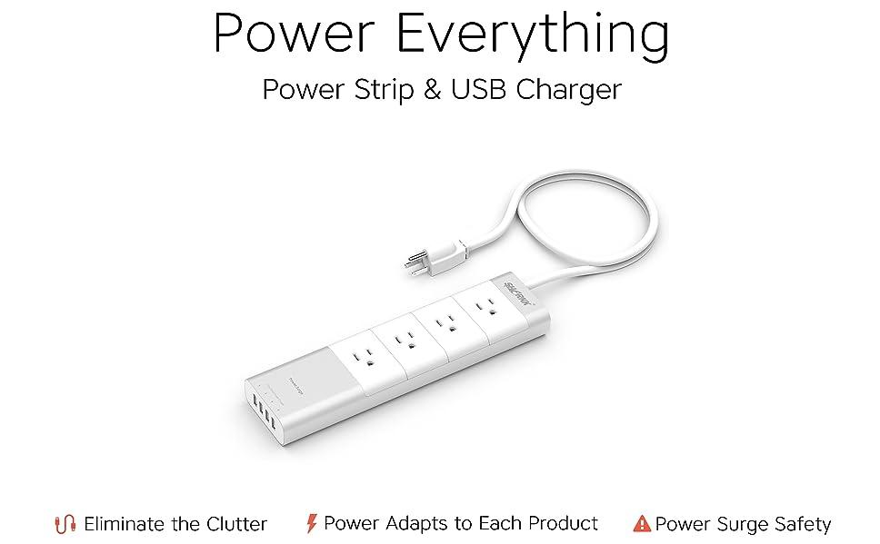 amazon com  sharkk aluminum power strip 4 port usb surge protector outlet extender for home