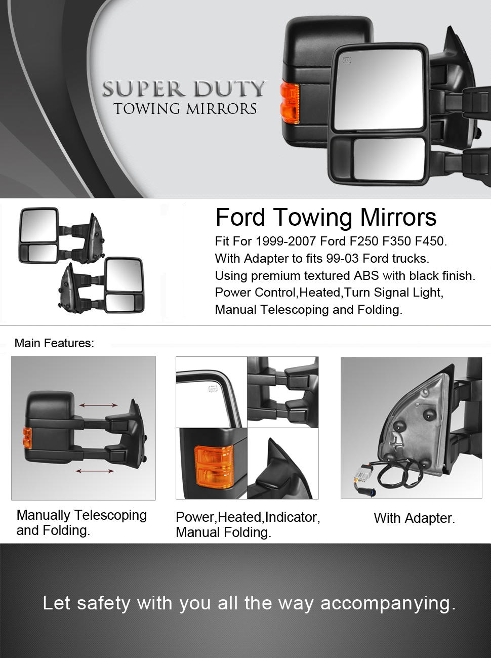 Dedc ford towing mirrors f250 ford tow mirrors f350 f450 pair for 1999 2007 side mirror power heated with signal light upgrade to 08 superduty retrofit