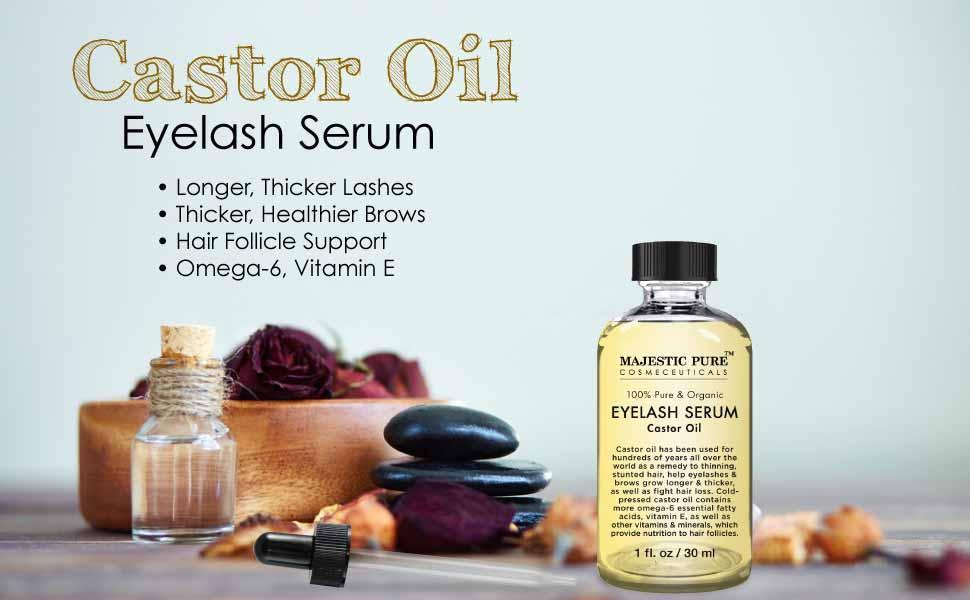 Amazon.com : Majestic Pure Castor Oil for Eyelashes Growth Serum ...