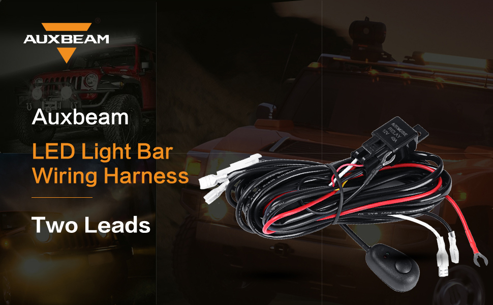 auxbeam led light bar wiring harness kit 12v 40amp fuse. Black Bedroom Furniture Sets. Home Design Ideas