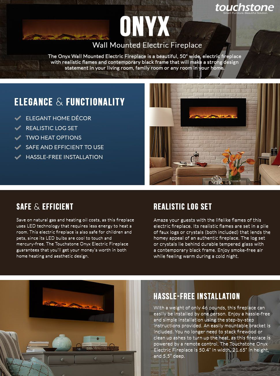 Functionality and elegance come together with Touchstone Onyx Electric  Fireplace! - Amazon.com: Touchstone 80001 Onyx Wall Mounted Electric Fireplace