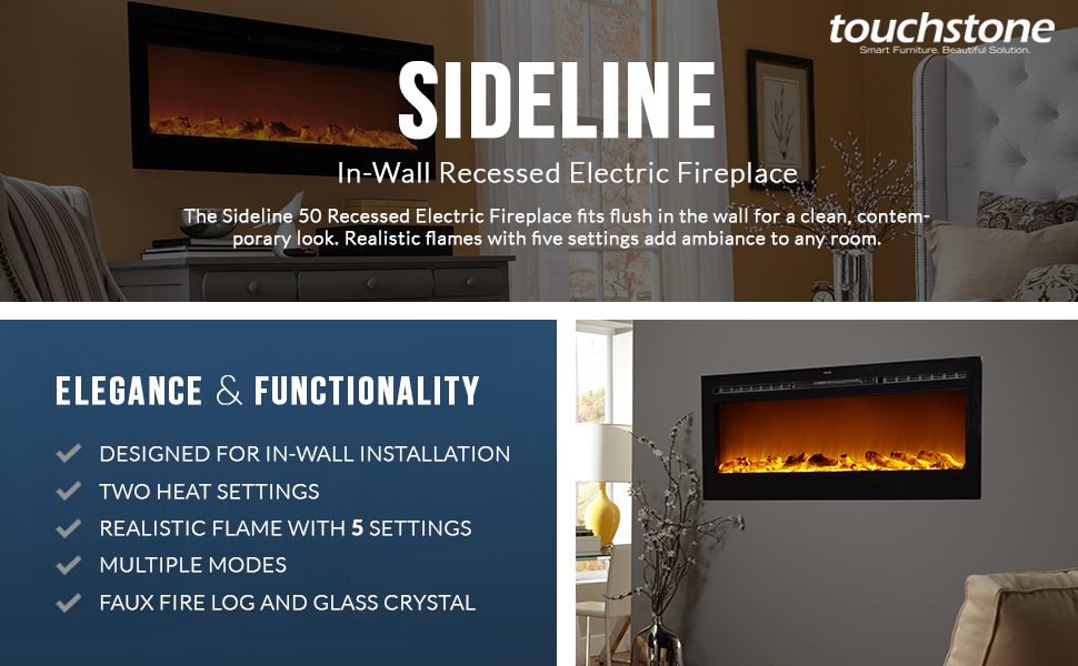 Keep yourself warm during cold weather and add a hint of sophistication to  your home with the Touchstone Sideline 50 Recessed Electric Heater Fireplace . - Amazon.com: Touchstone 80004 Sideline In-Wall Recessed Electric