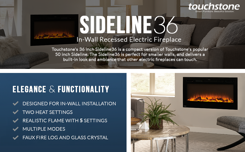 Fireplace Design touchstone fireplace : Amazon.com: Touchstone 80014 Sideline In-Wall Recessed Electric ...