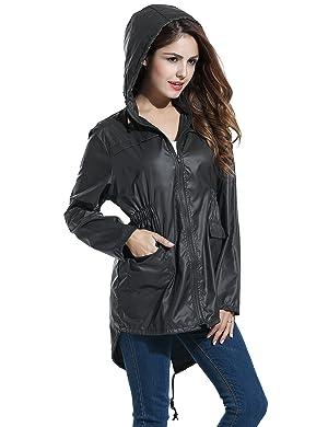 Amazon.com: Meaneor Women's Waterproof Raincoat Outdoor Hooded ...