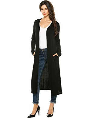 Meaneor Women's Long Sleeve Waterfall Hoodies Open Front Maxi ...