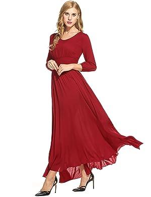 Meaneor Women Empire Waist Maxi Dress Flowy Split Evening Gown     Amazon com