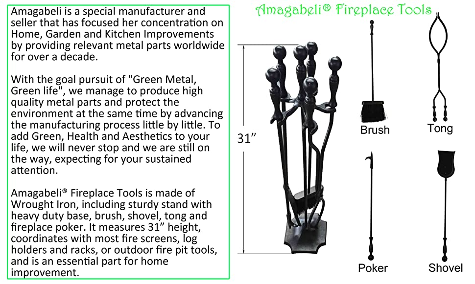 Fireplace Design iron fireplace tools : 5 Pieces Tool Set Wrought Iron Fireset Firepit Fire Place Pit ...