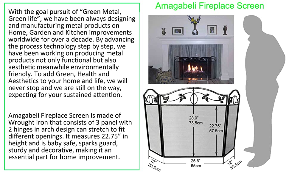 Amagabeli 3 Panel Pewter Wrought Iron Fireplace Screen Outdoor Large Metal Fire