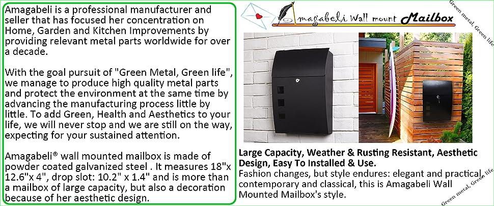 "Wall Mount Mailbox Large Capacity 18"" Vertical Locking Wall ..."