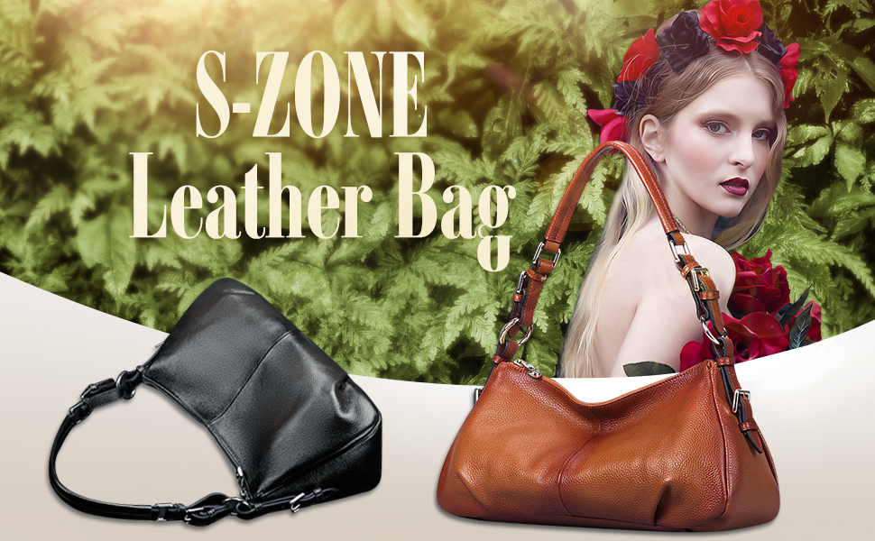 S-ZONE Women Vintage Cow Leather Single Shoulder Top-handle Handbag Ladies Purses