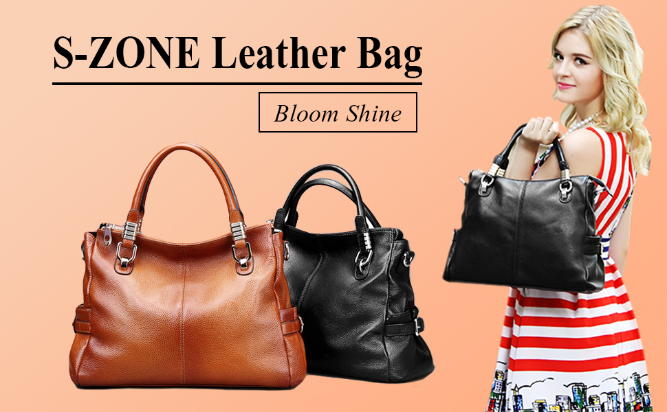 S-ZONE Women's Vintage Genuine Leather Tote Shoulder Bag Top-handle Crossbody Handbags Ladies' Purse