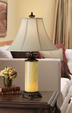 Elevate The Style Of Your Traditional Space With This Refined Table Lamp  That Features A Natural Onyx Stone Column Base. The Built In Night Light  Will Cast ...