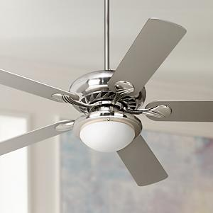 The Tempra ceiling fan from Casa Vieja comes with a brushed nickel finish motor and five silver finish blades. This 3-speed reversible fan can be mounted on ... & 52
