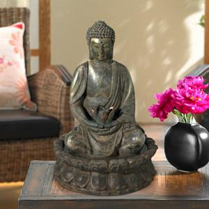 Add The Calming Sound Of Running Water To Living Areas And Workspaces With  This Distinctive Seated Buddha Zen Tabletop Fountain. The Buddha Cradles A  Lotus ...
