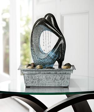 The Modern Silhouette Tabletop Fountain Features A Carved, Stylized Figure  That Has The Look Of Polished Stone And Patinaed Copper ...