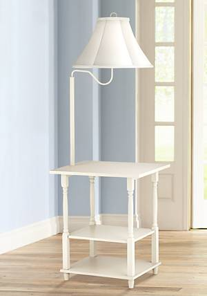 Blanca Antique White End Table Floor Lamp - - Amazon.com