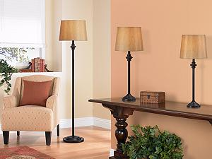 Griffith Bronze Table Lamps And Floor Lamp Set Of 3