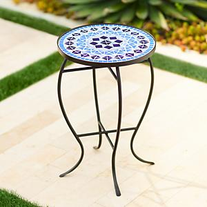 add style and function to your porch or deck with this round outdoor accent table that has an inlaid mosaic top featuring a geometeric pattern in shades of - Outdoor Accent Tables