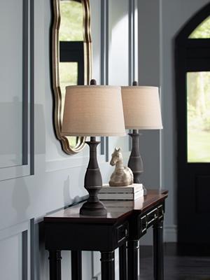 Ben Dark Bronze Metal Table Lamp Set of 2 Amazoncom