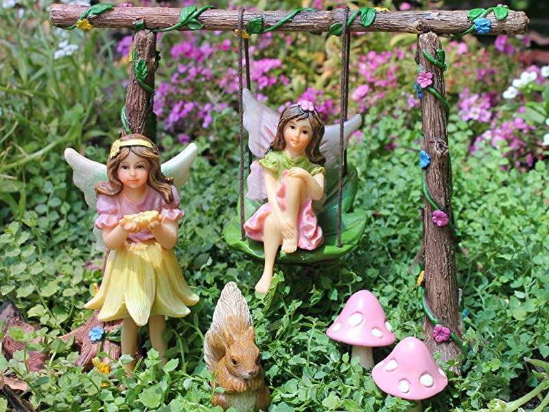 Fairy garden swing set kit with miniature for Baby garden swing amazon