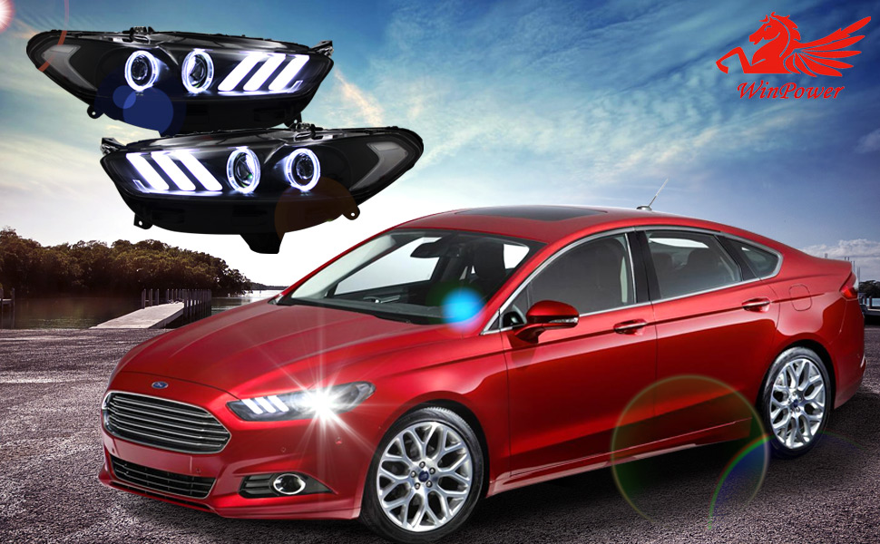 ford fusion 2013 2016 mustang style dynamic turning halo headlight by win power black housing clear lens projector these superior headlights are made