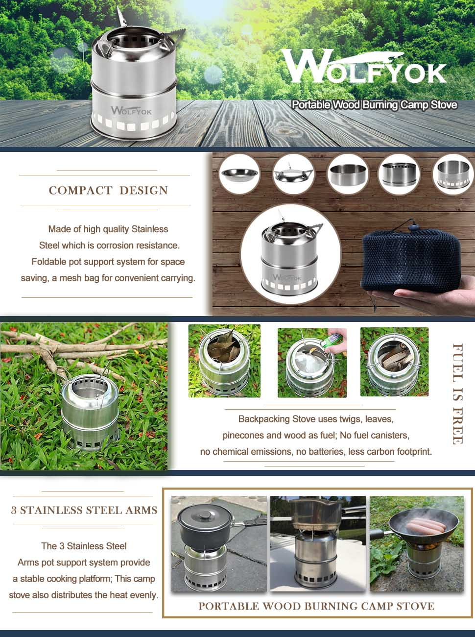 Amazon.com : Portable Stainless Steel Wood Burning Camp Stove ...