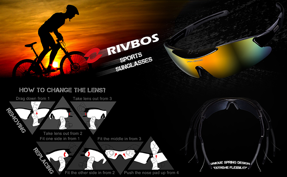 RIVBOS TR90 Material Sports Sunglasses with 5 Interchangeable Lenses