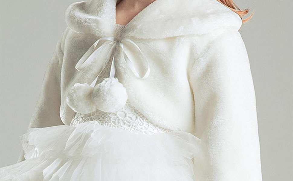 Inner Material: Lining: Polyester Size: S(1-3Years), M(1-3Years), L(1-3Years) Girls Faux Fur Capes/Wraps for Prom Dress, Flower Girls Dresses