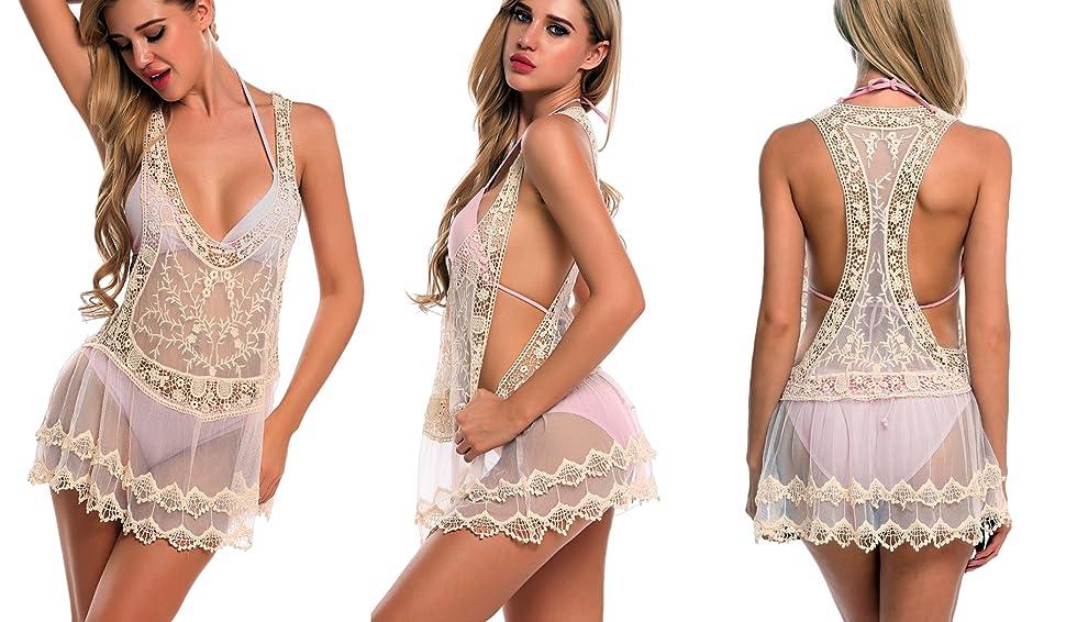 883b834a50 Women's Sexy Lace Mesh Patchwork Bikini Bathing Suit Cover Up Tank Dress