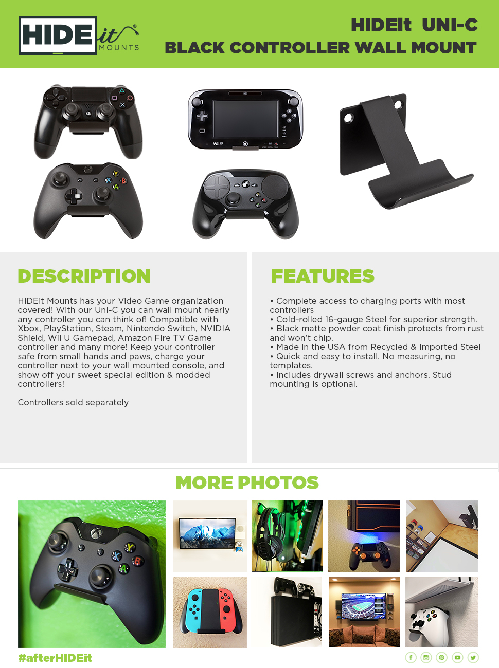 Amazon.com: HIDEit Uni-C (2 pack Black) Controller Wall Mount | Made in the USA: XBOX 360: Video