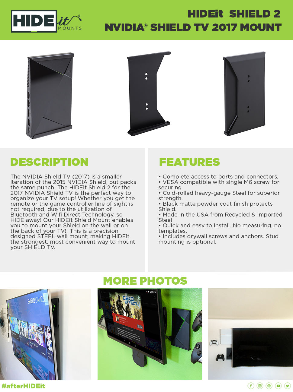 Amazoncom HIDEit Shield  Wall Mount Bracket For NVIDIA Shield - Us zip code tv provider
