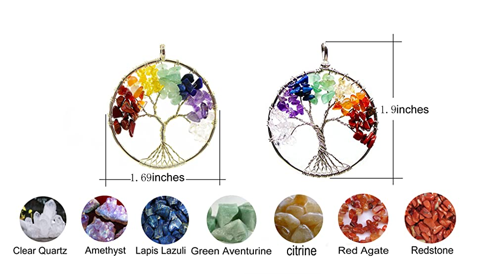Amazon golden tree of life circle pendant 7 chakra healing 7 chakra tree of life pendant aloadofball Choice Image