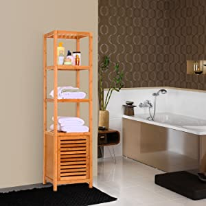 floor cabinet bathroom storage solution shelf bamboo tower space saver