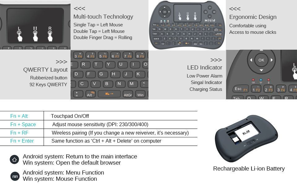 Amazon.com: Mitid 2.4GHz Wireless Mini Keyboard with Mouse
