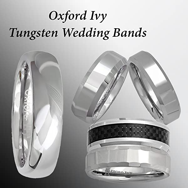 oxford ivy 5mm mens comfort fit plain tungsten wedding band