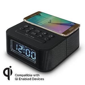 Amazon Com Dreamqi Wireless Charging Dual Alarm Clock W