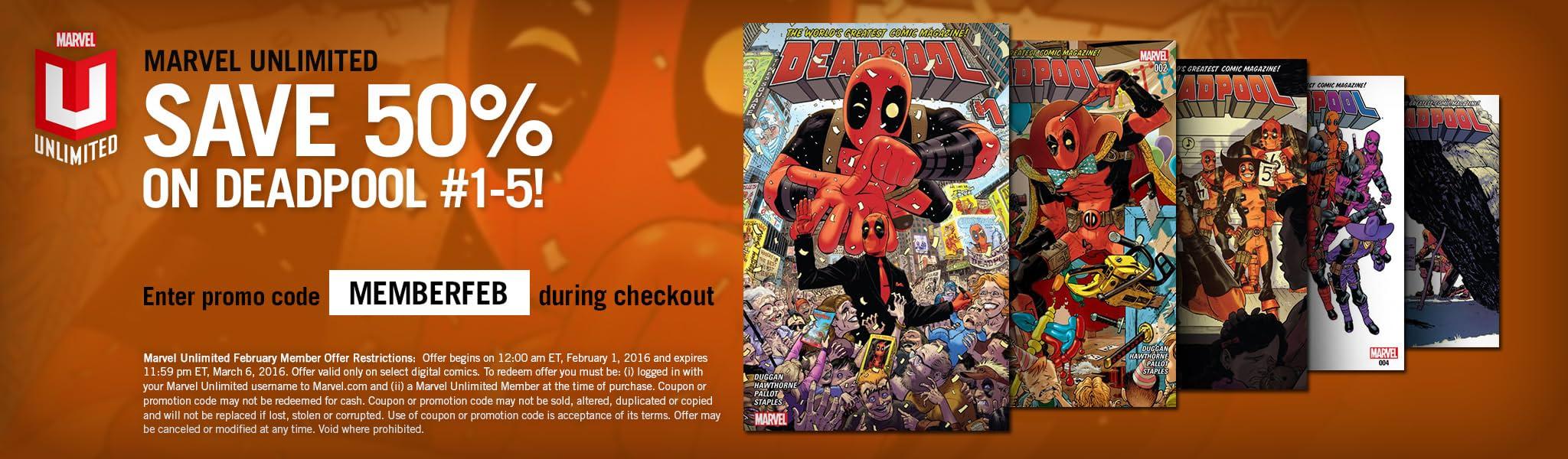 marvel unlimited spotlight offer february 2016 marvel comics