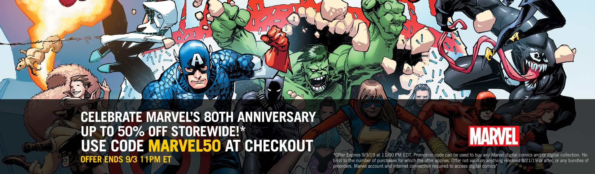 Marvel 50% Off Linewide Coupon - Comics by comiXology