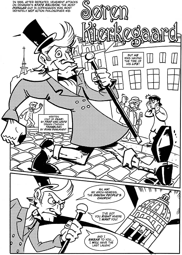 click for super-sized previews of Action Philosophers #10: Hume, Kierkegaard & John Stuart Mill!