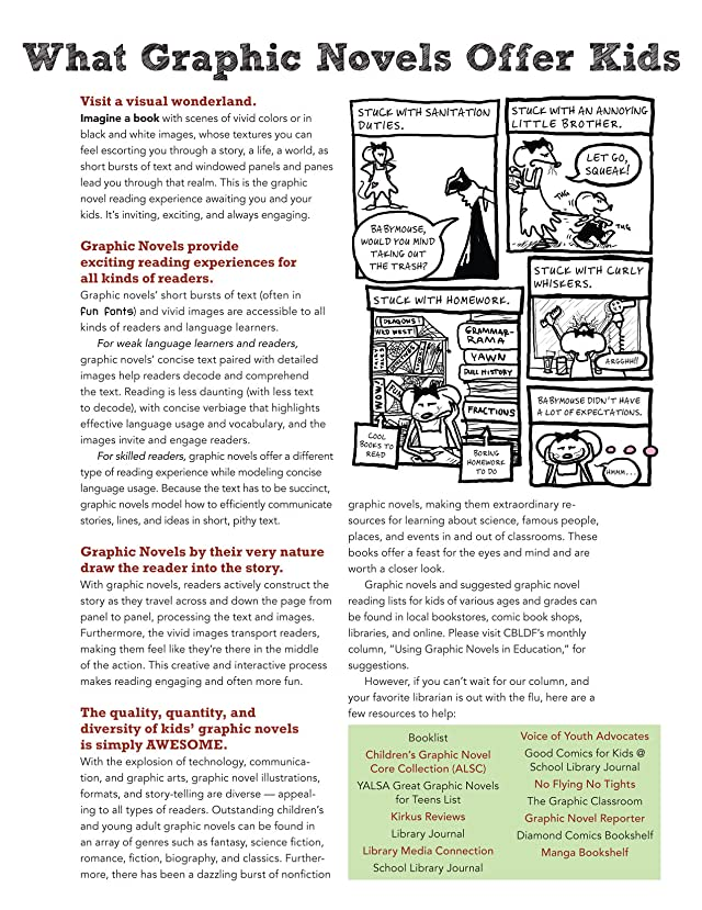 click for super-sized previews of Raising A Reader! How Comics & Graphic Novels Can Help Your Kids Love To Read!