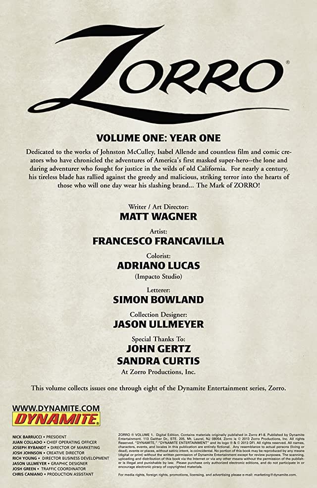 Zorro Vol. 1: Year One