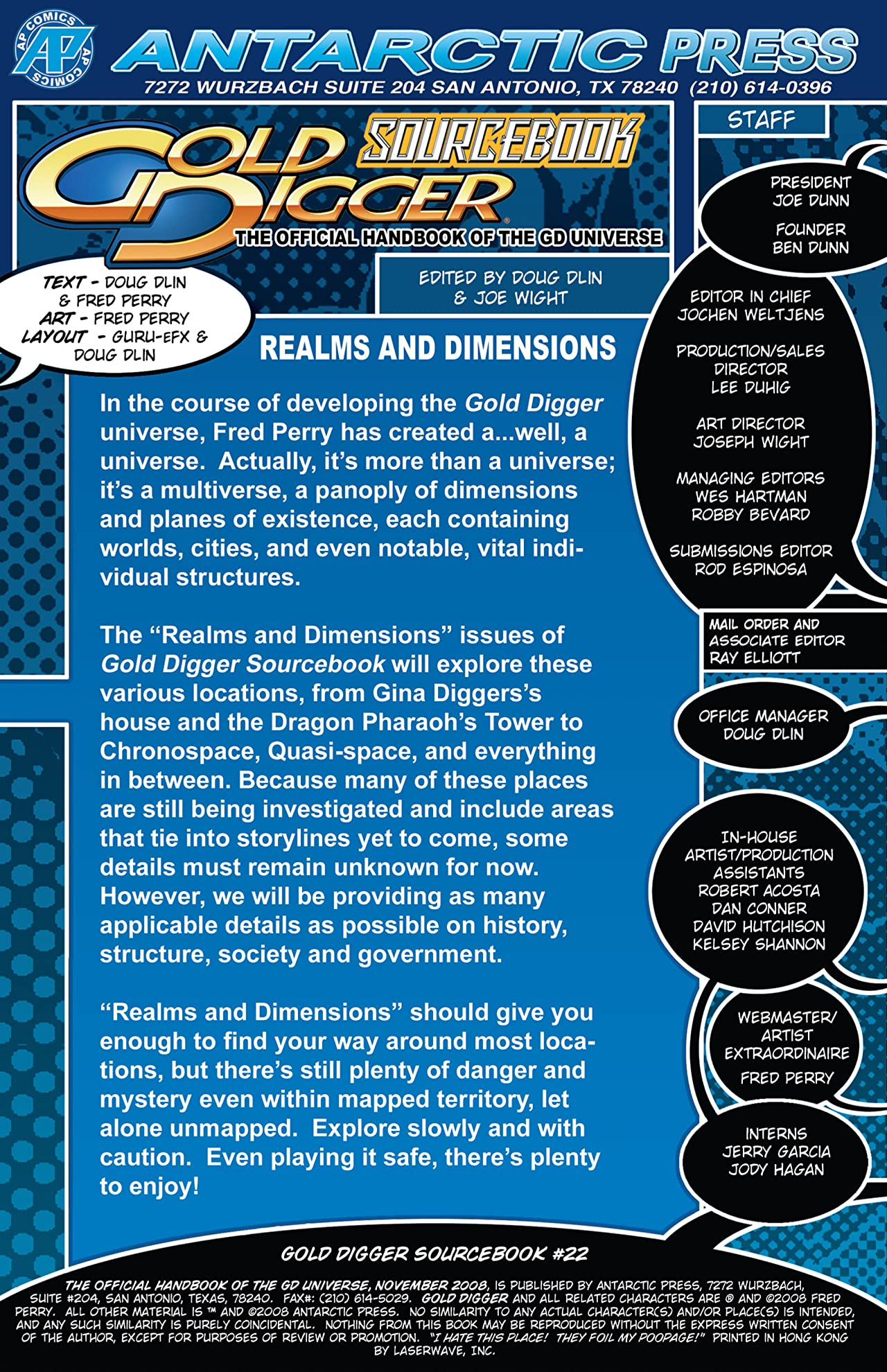 The Gold Digger Sourcebook: The Official Handbook of the Gold Digger Universe #22