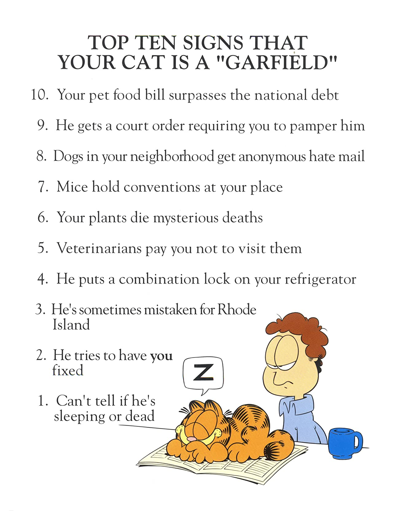 Garfield's Top Ten Tom(cat) Foolery