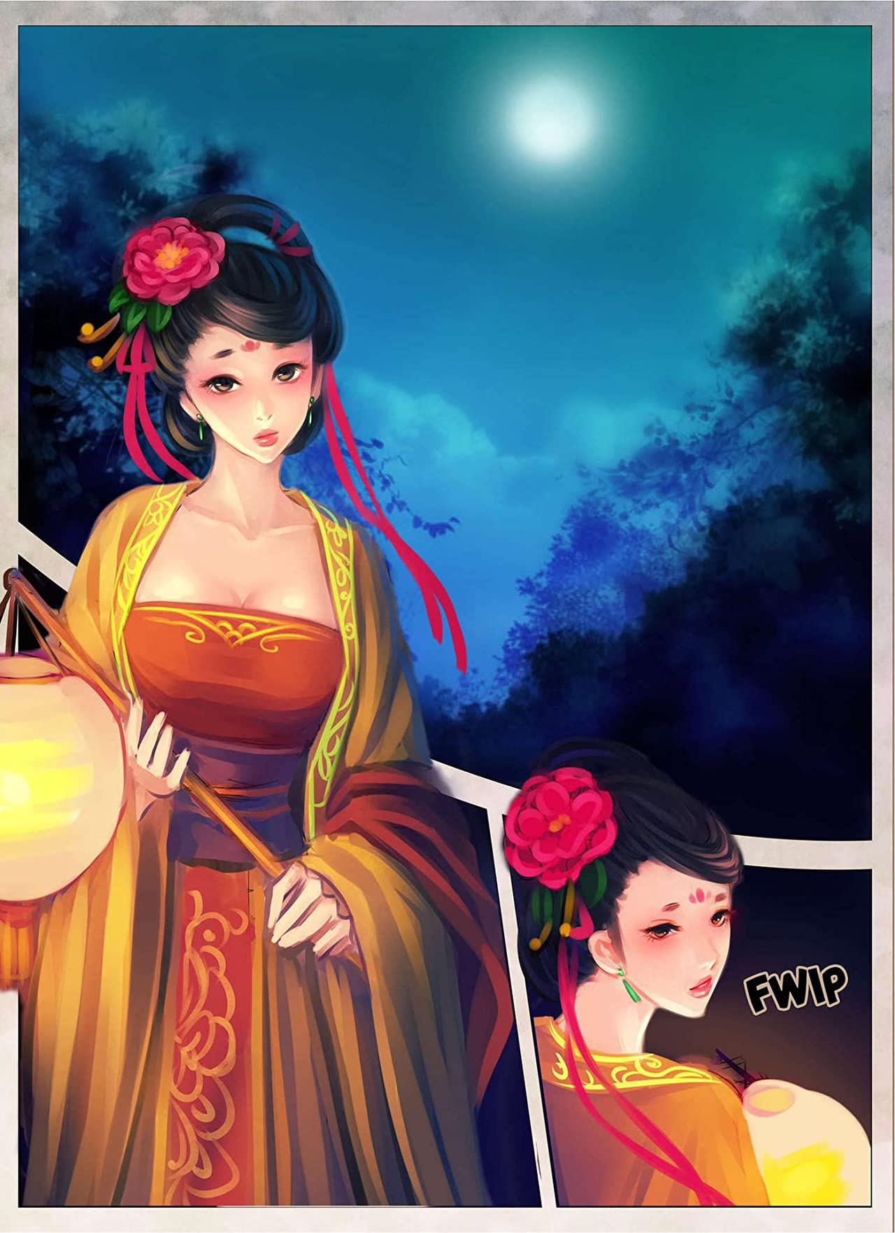 Purple Flower Under the Moonlight #1