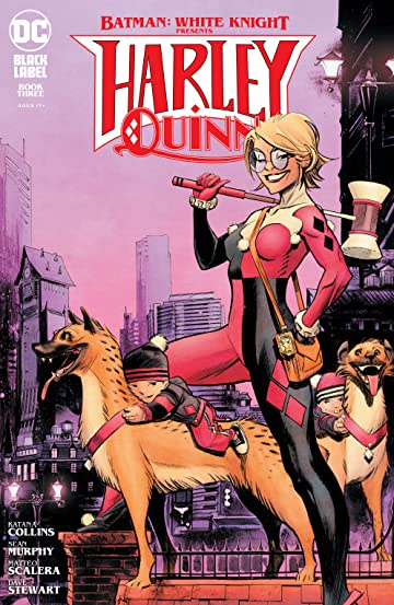 Cover of issue #3 shows Harley in her classic suit, minus the mask, with an over the shoulder bag, GTB badge, and mallet. Her hyenas stand at her feet, with the kids on top. In the background is Gotham City.