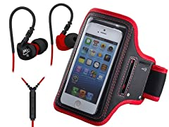 In-Ear Headphones & Armband - Red/Black