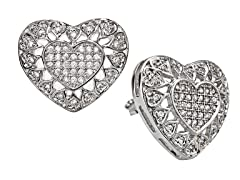 18kt Plated Openwork Heart CZ Earrings