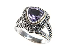 18kt Accent Trillion Shape Amethyst Ring