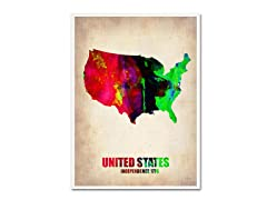 Naxart 'US Watercolor Map' Canvas Art- 2 Sizes